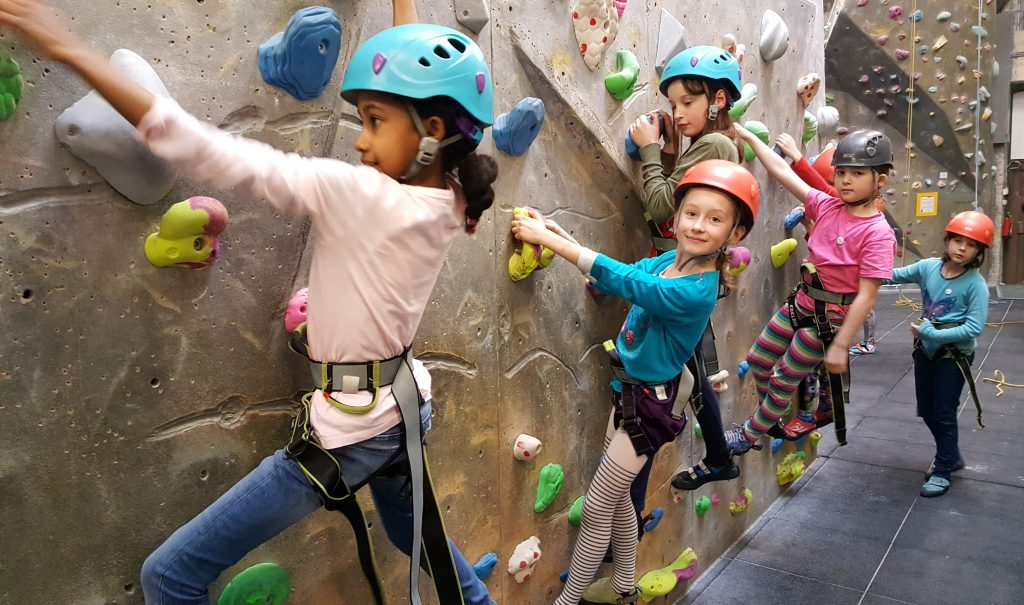 Traversing downstairs during a kids' climbing party