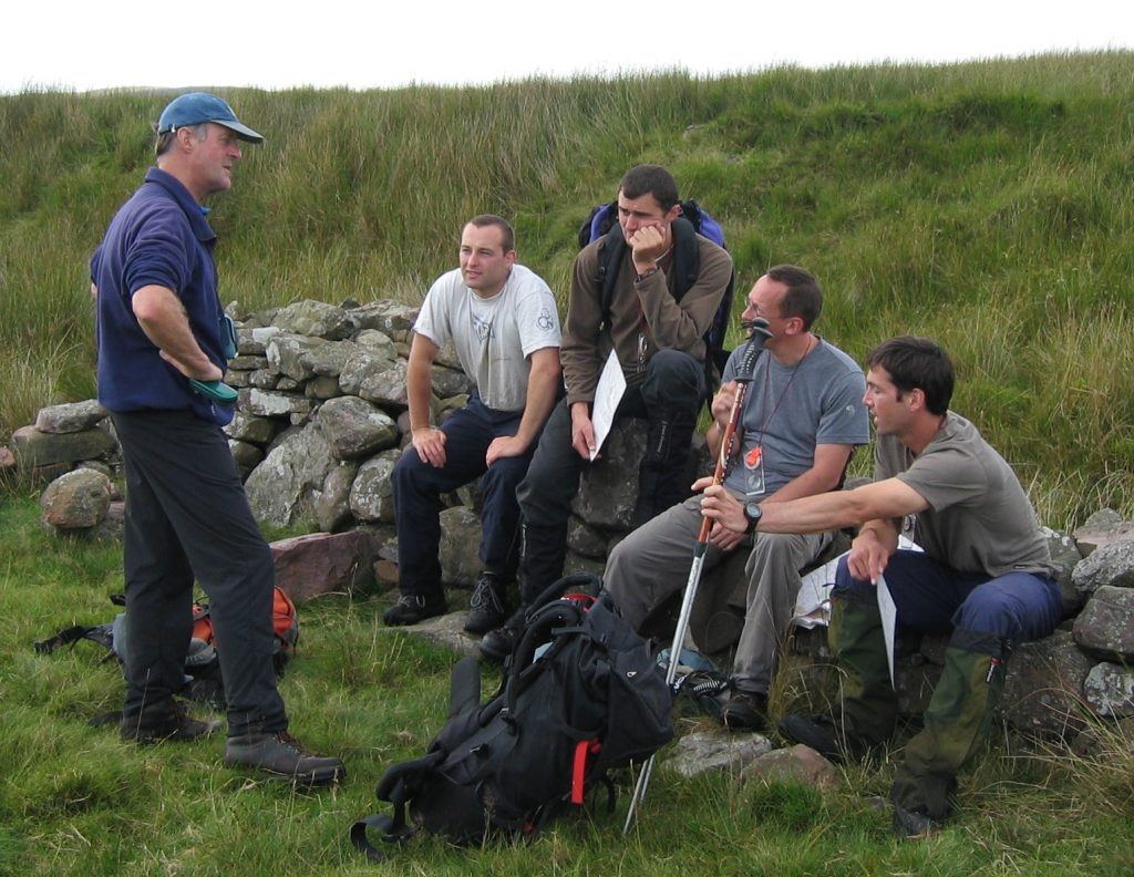 Rick Abbott leading an ML training course in Dartmoor, August 2004